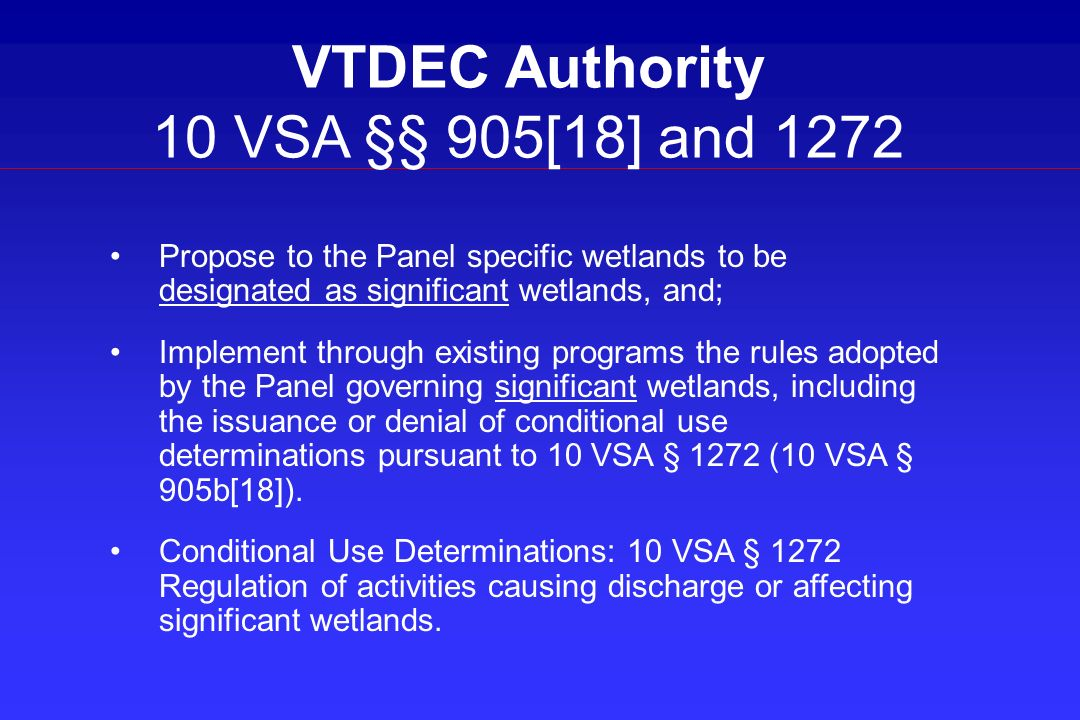 VTDEC Authority 10 VSA §§ 905[18] and 1272